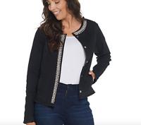 GRAVER Susan Graver High Stretch Black Denim Jacket - 1X - Black
