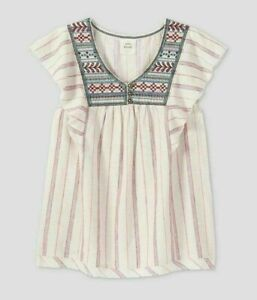 Women's Flutter Short Sleeve Embroidered Top - Knox Rose  White Size S