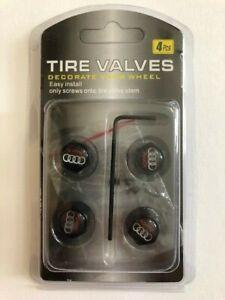 Universal Lockable/Anti Theft Wheel Valve Stem Cap Set For Audi Black