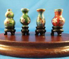 Four(4) Unique Vintage Tiny Miniature Cloisonne Vases, 12:1 Doll house size