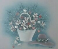 Floral Oil Painting on 20x24 Canvas by HANSEN Framed Signed. Beautiful DETAILS