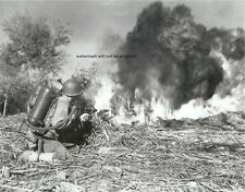 "Marine fires a flame thrower at a Japanese position 8""x 10"" WWII Photo 301"