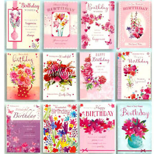 Pack of 12 Female Contemporary Modern Birthday Greeting Cards for Her Glitter