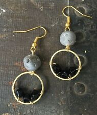 Sparkly Gray Druzy Gemstone & Black Bead Circle Brass Gold Plated Hook Earrings