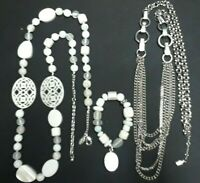 white Necklace & Bracelet set, long silver tone chain with clear stones