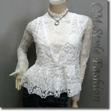 2-Piece Lace Turtleneck Long Sleeve Blouse Top with Crochet Vest Off White S