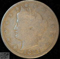 1887 Liberty Nickel, V Nickel, Very Good+ Condition, Free Shipping in USA, C5013