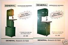"Vintage GENERAL 15"" & 20 WOOD Bandsaw MACHINERY BROCHURES 1969 & 1971  #RR598"