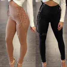 Women High Waist Slim Legging Bandage Trousers Skinny Lace Up Pencil Pants X6Q8
