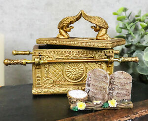 Matte Gold Ark Of The Covenant Model With Contents Figurine Decorative Box 1:10