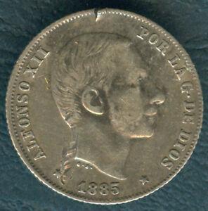 1885 Spanish Philippine ALFONSO XII 20 Centimos De Peso Silver Coin B