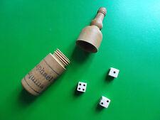 Petite bouteille en bois ST. RAPHAEL mini dés à jouer ancien début XXème bistrot
