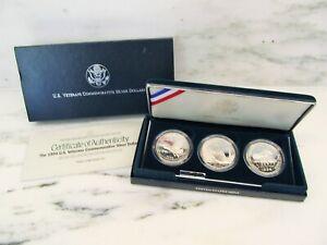 1994 US Mint Veterans Commemorative Proof 3 Silver Dollars w/ Box & COA AK130