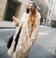 Fashion Womens Faux Fur Winter Warm Long Coat Jacket Parka Trench Coat Outerwear