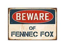 """Beware Of Fennec Fox 8"""" x 12"""" Vintage Aluminum Retro Metal Sign VS167"""