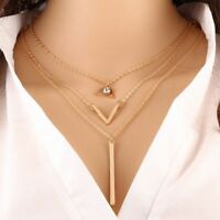Multi-Layer Metal Pendant Necklaces Creative Geometric Triangle Women Necklace