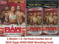 2019 Topps WWE RAW Wrestling Trading Cards 1-Blaster + 2-Fat Pack Combo Set FS