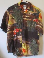 Mens Untied M Rayon Short Sleeve Button Down Hawaiian Shirt Casual Multi-Colored