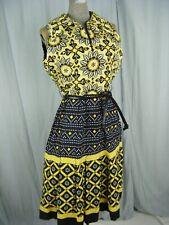 OSCAR DE LA RENTA BOUTIQUE Vtg 70s Black Yellow Mod Summer Dress-Bust 40/M