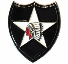 2nd Infantry Division USA US Army Insignia Indian Head Enamel Military Badge NEW