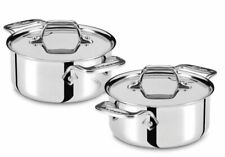 NEW All Clad 2 PC SET Cocottes Stainless Steel Silver soup soufflé pot with lid