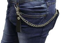 Men Silver Metal Chains Black Faux Leather Wallet Fashion KeyChain Biker Links