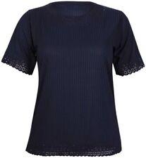 Maglie e camicie da donna blu a righe con girocollo