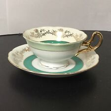 Shafford - Cup & Saucer - Green Stripes - Gold - Fine Bone China - Lime