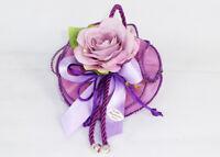 Bomboniera sacchetto lilla organza con rosa matrimonio comunione cresima