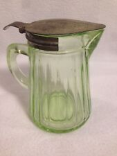Vintage Green Depression Glass Ribbed Syrup creamer Pitcher w/ Metal Lid handle