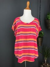 SPLENDID Top L Pink ST5B7466 Cannes Stripe Tee Peach Blue White Oversized