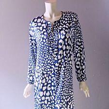 Oscar de la Renta Pink Label Robe M Blue Print Satin Zip Gown Caftan Housecoat