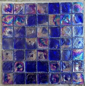 Dark Blue Iridescent Square Glass Mosaic Tile For Backsplash Wall