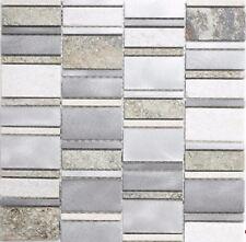 Mosaik Quarzit/Aluminium mix Fliesenspiegel Küche Wand Art: 49-505 | 10 Matten