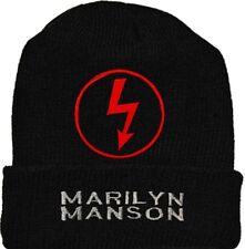 Marilyn Manson Wool Hat Black Beanie Knit Antichrist Superstar Logo Spooky Kids