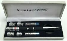 5 Attachments Long Range Green Laser Pointer Pen 532nm Lazer Beam Case 5mW Power