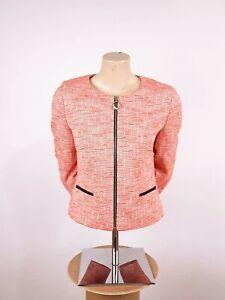 Women's Hugo Boss Aleesie Tweed Jacket Orange Size UK 12 US 8 Business €379 Rare