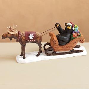 Bearfoots Bear Santa's Sleigh Christmas Figurine Jeff Fleming Big Sky Carvers