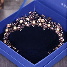 4cm High Purple Crystal Flower Wedding Bridal Party Pageant Prom Tiara Crown
