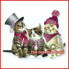 CUTE WINTER CATS - Iron On T-Shirt Glitter Heat Transfer - NEW