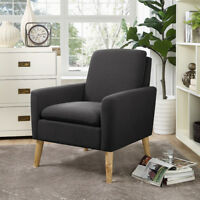 Arm Chair Tufted Back Fabric Upholstered Accent Chair Single Sofa Wood Leg Black
