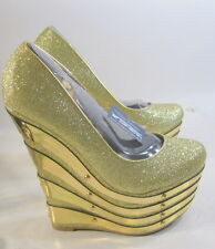 """Gold Glitter 6.5"""" High Wedges Heel 2.5"""" Platform Round Toe Sexy Shoes Size 8.5"""