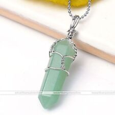 Natural Aventurine Stone Hexagonal Metal Healing Pendulum Pendant For Necklace