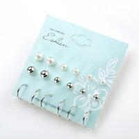 New 12 Pairs Gold Earrings Set Ball Crystal Stud Women Girls Heart Pearl Jewelry