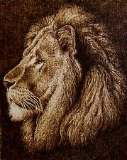 ORIGINAL ANIMAL DRAWING-PYROGRAPHY/WOODBURNING-MAJESTIC LION-DRAWING WITH FIRE