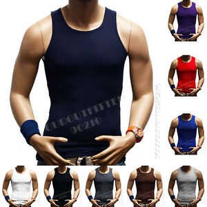 Mens T-Shirt  Tank Top100% Cotton A-Shirt Muscle Ribbed Gym Sleeveless Big &Tall
