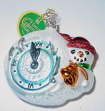 *NEW* Inge-Glas German Christmas Tree Ornament - Snowman Clock - 1-240-01