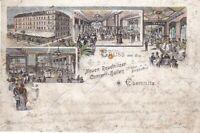 uralte Litho Chemnitz Kneipe Neue Reudnitzer Conzert-Hallen Burgkeller 1902 /71