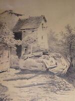 Ecole FRANCAISE DESSIN XIX PAYSAGE CHAMPETRE BARBIZON ent Hubert CLERGET 1840 b