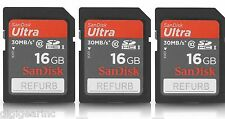 Lot Qty 3 of SanDisk 16GB SD SDHC I Full HD Flash Memory Card Class 10 REFURB